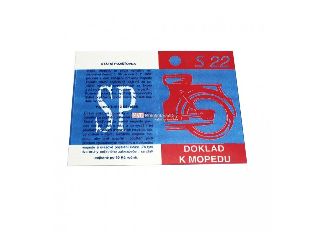 Kartička k mopedu S22 - lesklý, lakovaný, tvrzený papír