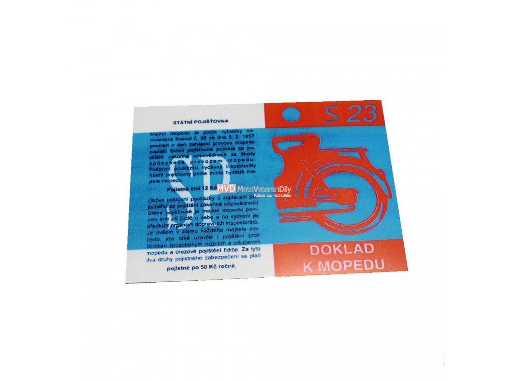 Kartička k mopedu S23 - lesklý, lakovaný, tvrzený papír