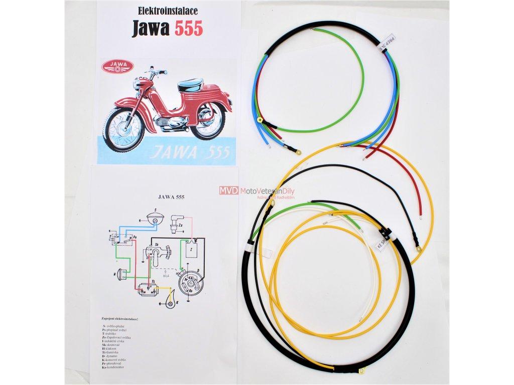 Kabeláž Jawa 555 jednosedadlák