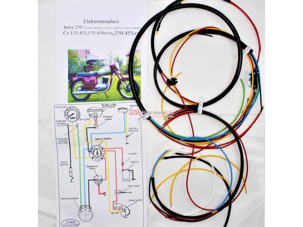 Kabeláž Jawa-ČZ jednoválec se spínačkou v masce světla