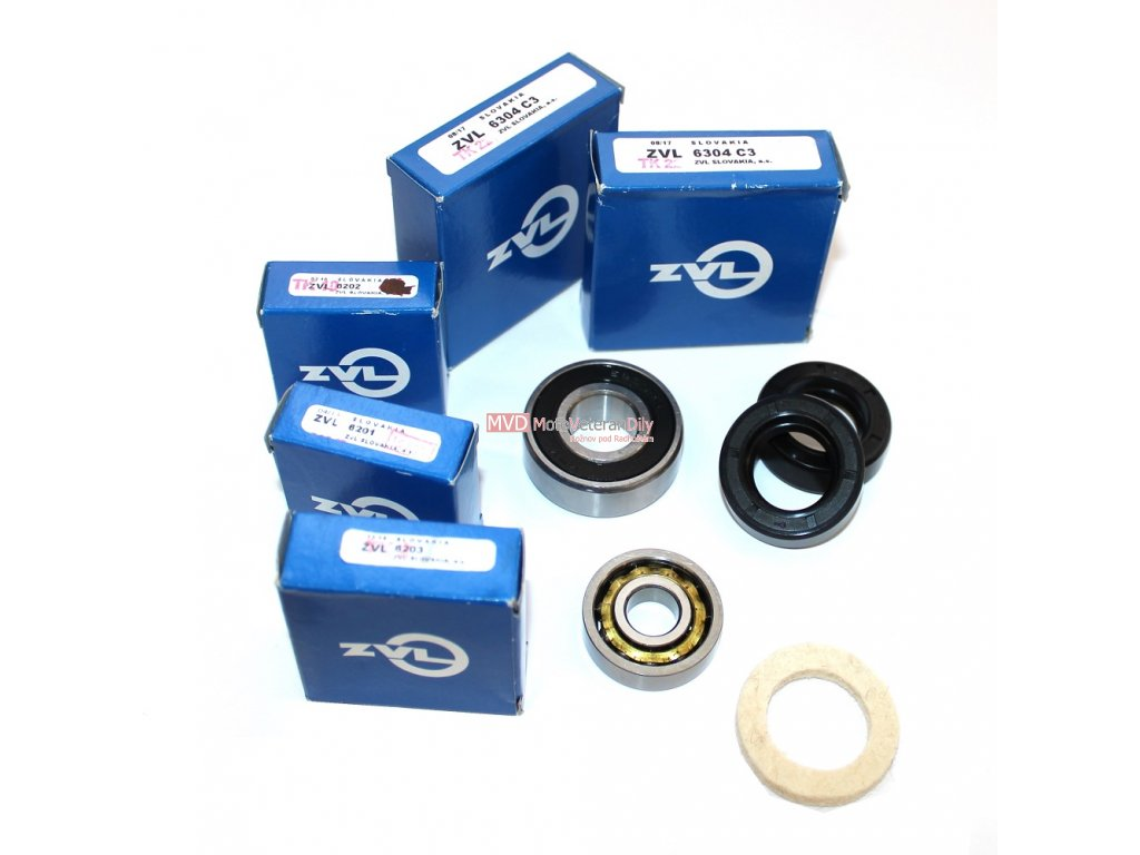 Ložiska+gufera+filc motoru ČZ 125 B a T