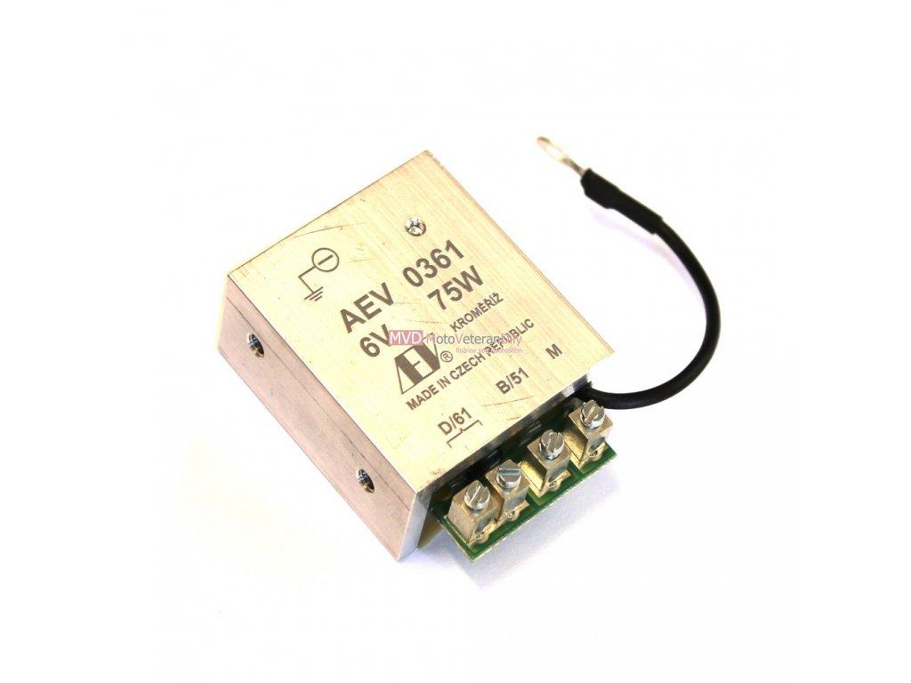 Regulátor AEV 6V - (ukostření baterie na - ) 75 Watt