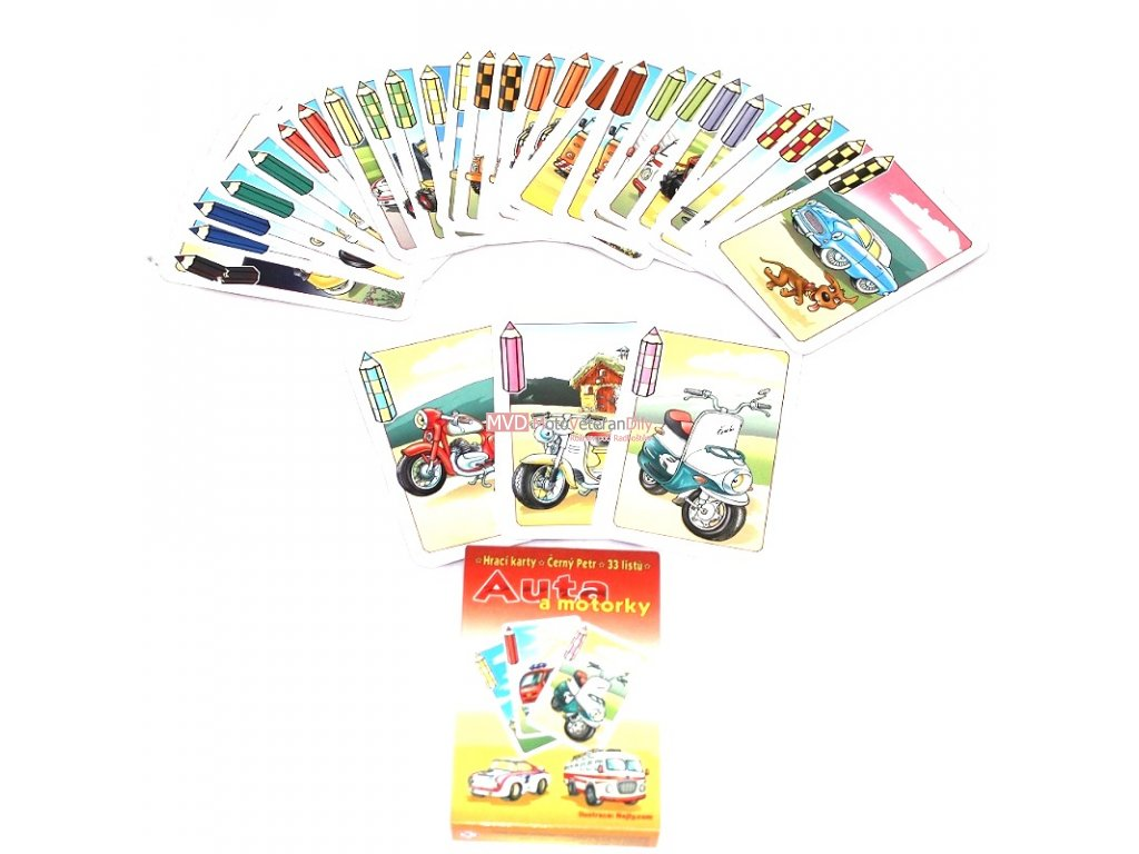 Černý Petr - hrací karty - AUTA A MOTORKY