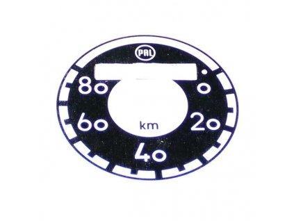 Ciferník tachometru Pionýr, Moped - (do 80 km/h)