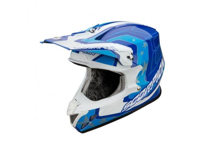 Moto přilba SCORPION VX-20 AIR SPACE modro/bílá/cyan XS
