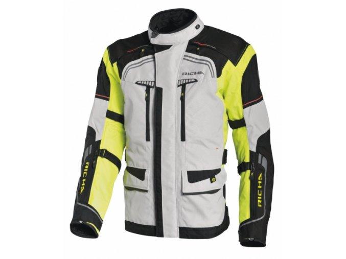 Moto bunda RICHA INFINITY šedo/žlutá fluo