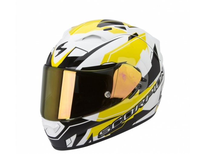 Moto přilba SCORPION EXO-1200 AIR SHARP bílo/žlutá XL