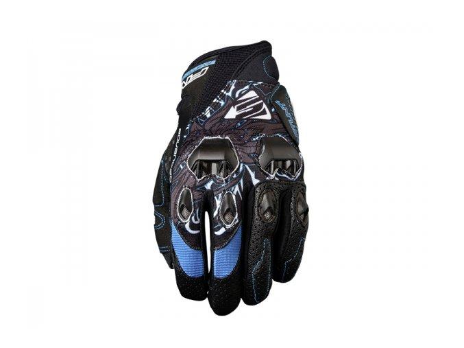 Dámské moto rukavice FIVE STUNT EVO flower modré