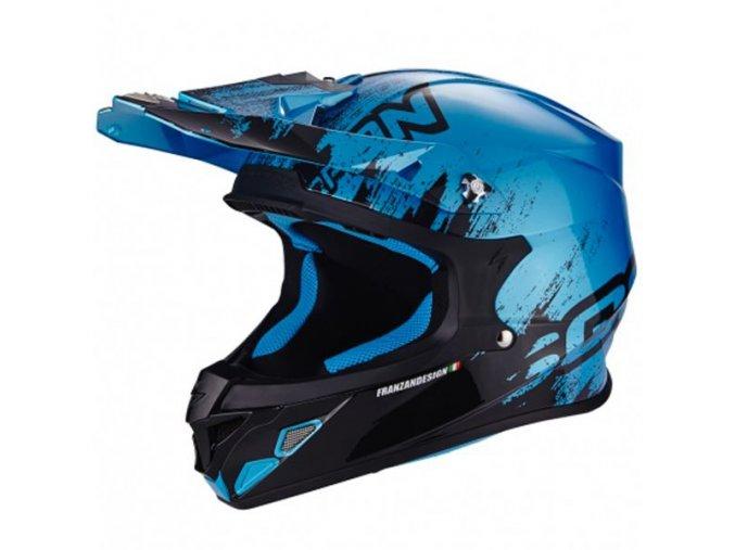 Moto přilba SCORPION VX-21 AIR MUDIRT černo/modrá