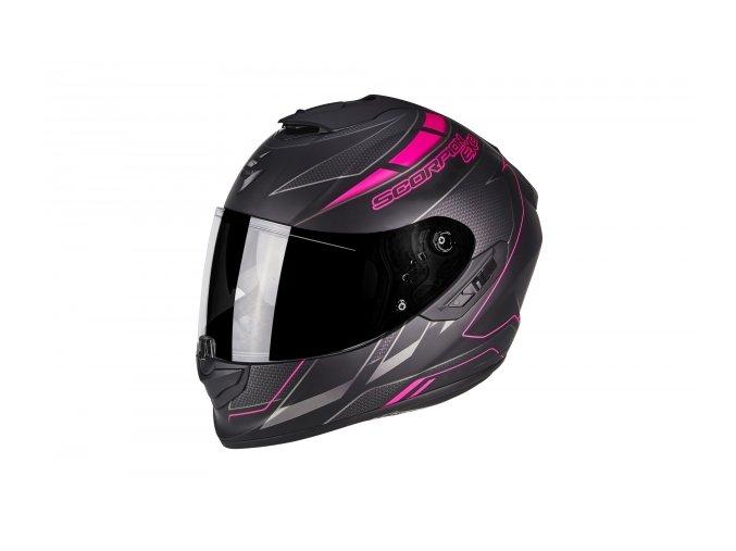 Moto přilba SCORPION EXO-1400 CUP černo/růžový chameleon matná