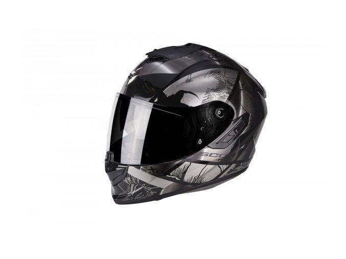 Moto přilba SCORPION EXO-1400 PATCH černo/stříbrná
