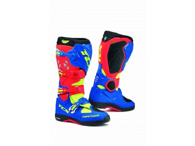 Moto boty TCX COMP EVO 2 MICHELIN® červeno/modro/žluté
