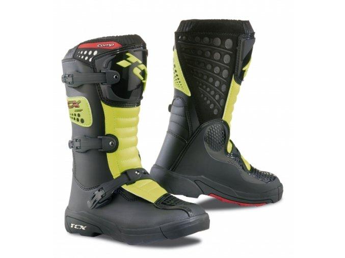 Dětské moto boty TCX COMP KID černo/žlutá fluo