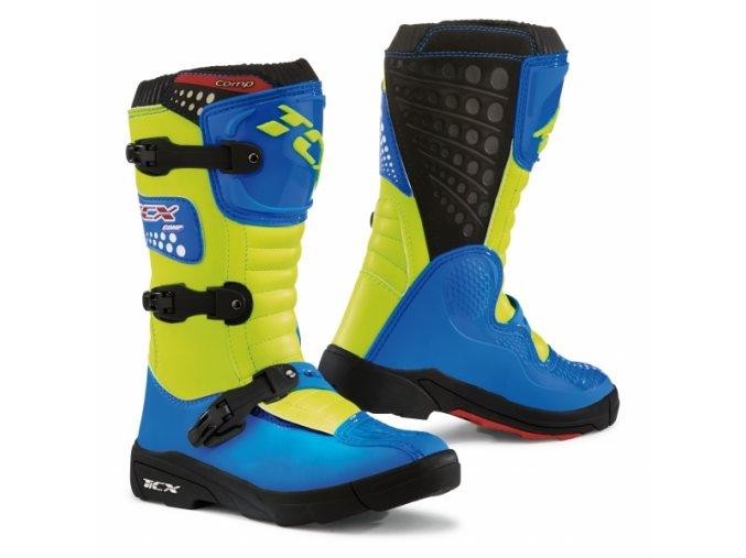 Dětské moto boty TCX COMP KID modro/žluté fluo