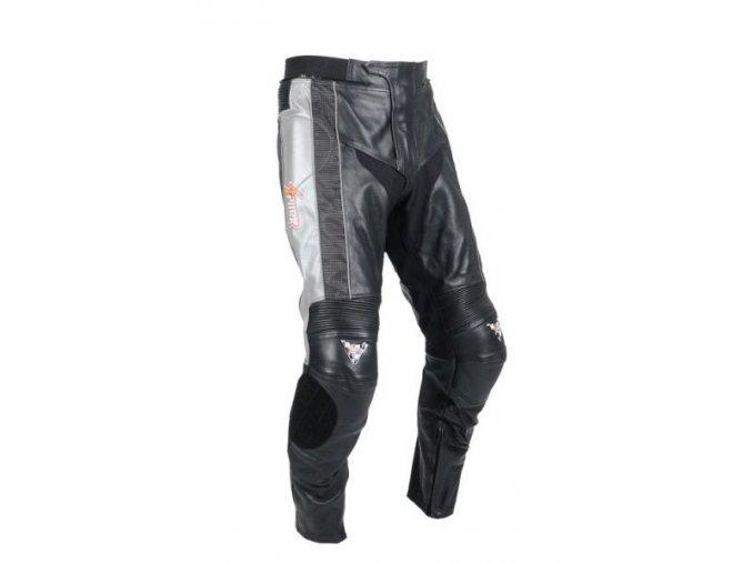 Pánské kožené moto kalhoty Spark Silver - 2XL