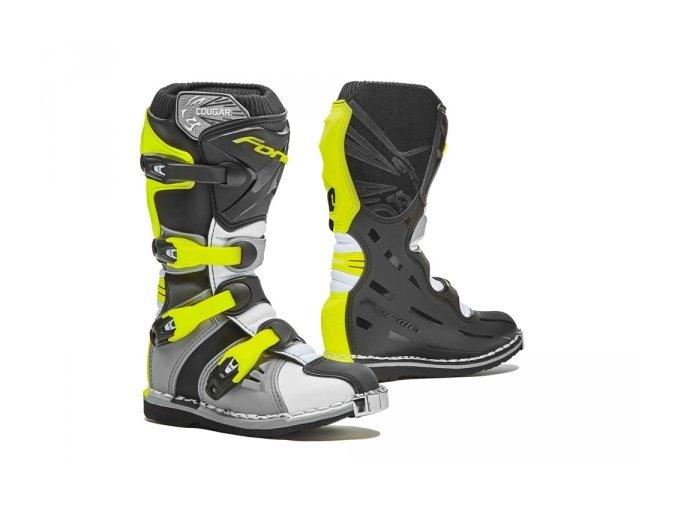 Dětské moto boty FORMA COUGAR šedo/bílo/žluté fluo