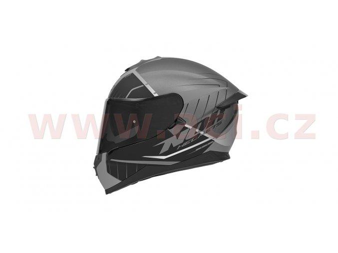 přilba N302S FAST LINE, NOX (stříbrná matná/černá/bílá, s aerodynamickým spoilerem)