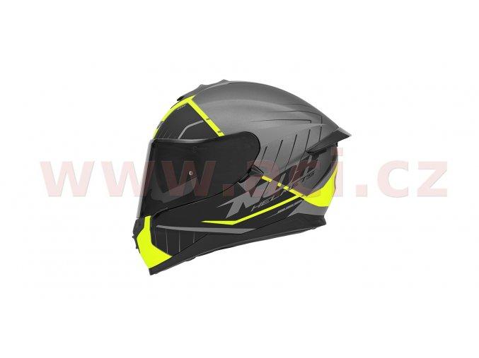 přilba N302S FAST LINE, NOX (stříbrná matná/černá/žlutá fluo, s aerodynamickým spoilerem)