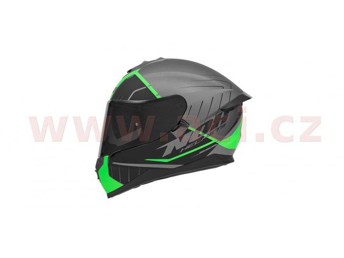 přilba N302S FAST LINE, NOX (stříbrná matná/černá/zelená, s aerodynamickým spoilerem)