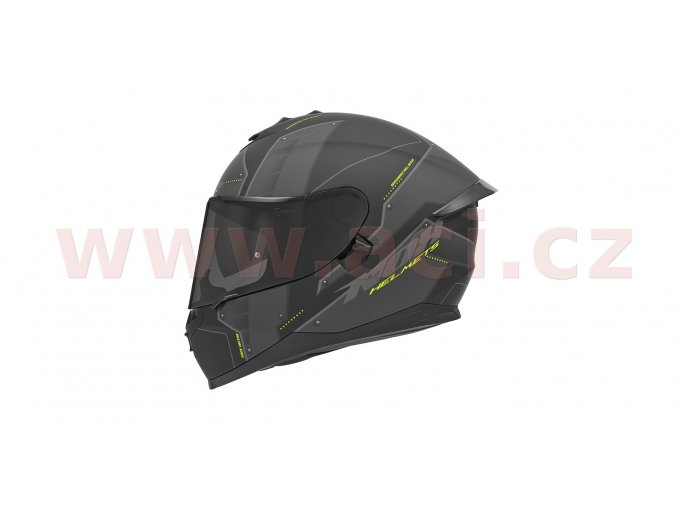 přilba N302S VECTOR, NOX (šedá matná/černá/žlutá fluo, s aerodynamickým spoilerem)