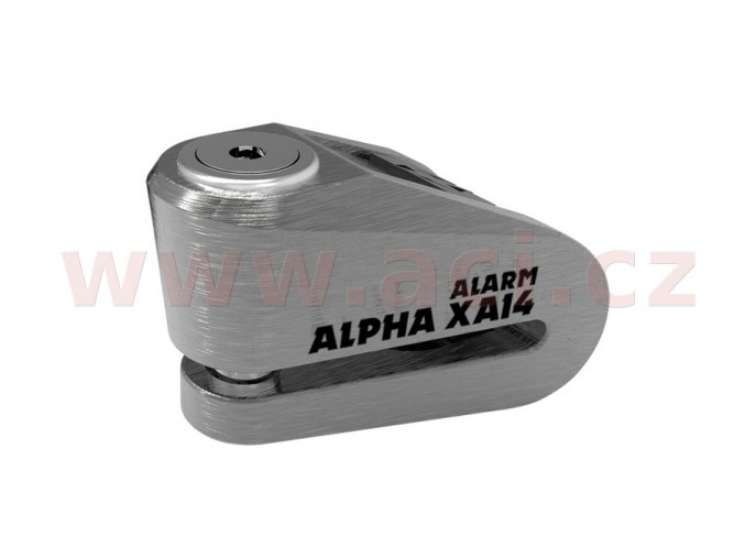 zámek kotoučové brzdy Alpha Alarm XA14, OXFORD - Anglie (integrovaný alarm, broušený kov, průměr čepu 14mm)