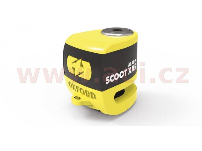 zámek kotoučové brzdy Scoot XA5, OXFORD - Anglie (integrovaný alarm, žlutý/černý, průměr čepu 5,5mm)