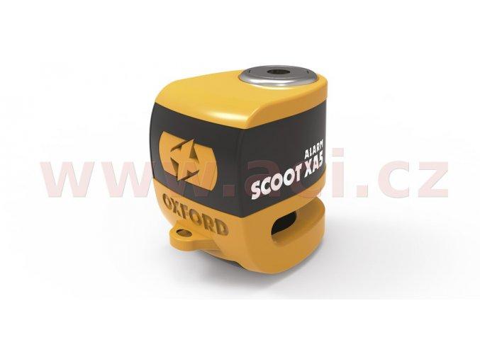 zámek kotoučové brzdy Scoot XA5, OXFORD - Anglie (integrovaný alarm, oranžový/černý, průměr čepu 5,5mm)