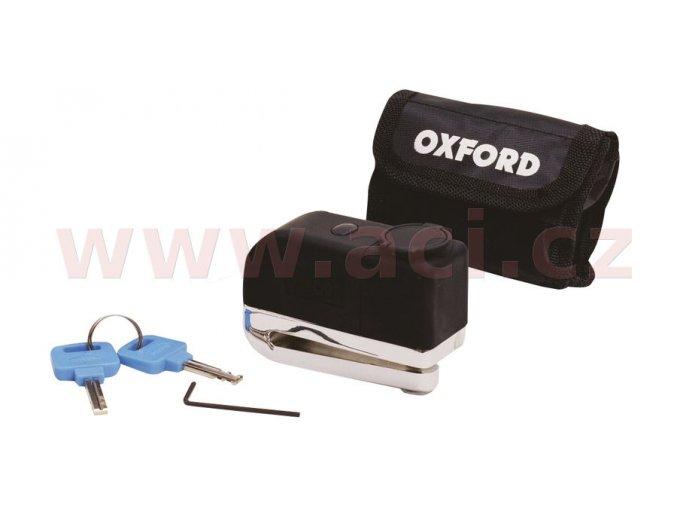 zámek kotoučové brzdy Screamer, OXFORD - Anglie (integrovaný alarm, chromový)