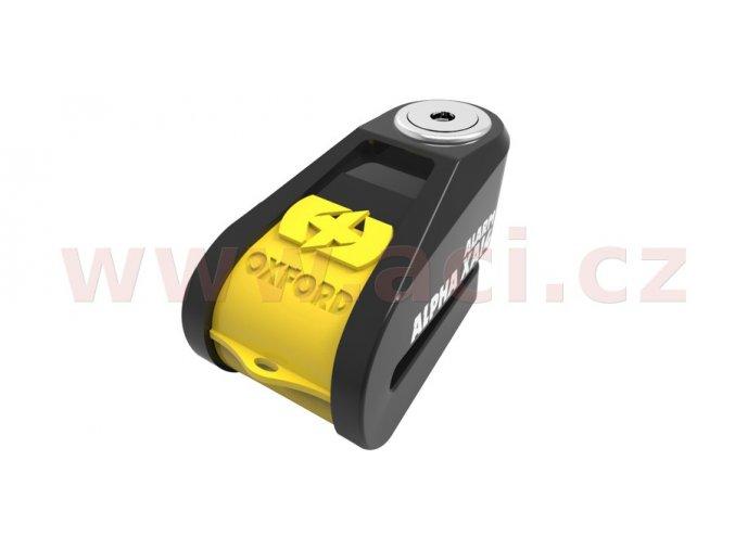 zámek kotoučové brzdy Alpha Alarm XA14, OXFORD - Anglie (integrovaný alarm, žlutý/černý, průměr čepu 14mm)