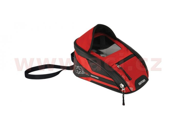 tankbag na motocykl M2R, OXFORD - Anglie (černý/červený, s magnetickou základnou, objem 2l)