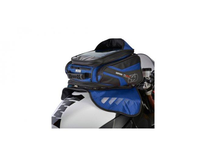 tankbag na motocykl M30R, OXFORD - Anglie (černý/modrý, s magnetickou základnou, objem 30l)