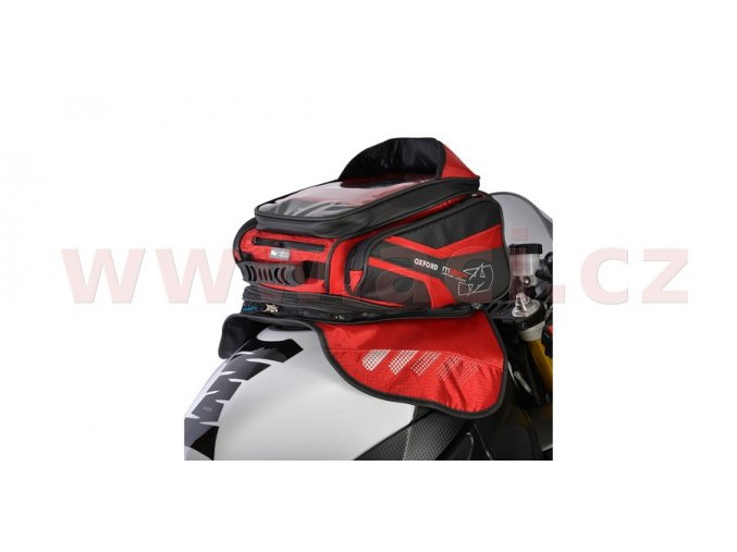 tankbag na motocykl M30R, OXFORD - Anglie (černý/červený, s magnetickou základnou, objem 30l)