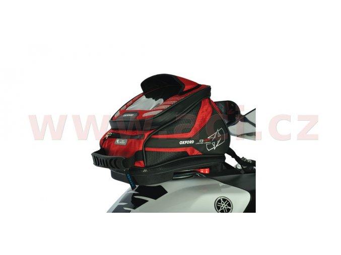 tankbag na motocykl Q4R QR, OXFORD - Anglie (černý/červený, s rychloupínacím systémem na víčka nádrže, objem 4l)