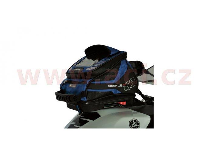 tankbag na motocykl Q4R QR, OXFORD - Anglie (černý/modrý, s rychloupínacím systémem na víčka nádrže, objem 4l)