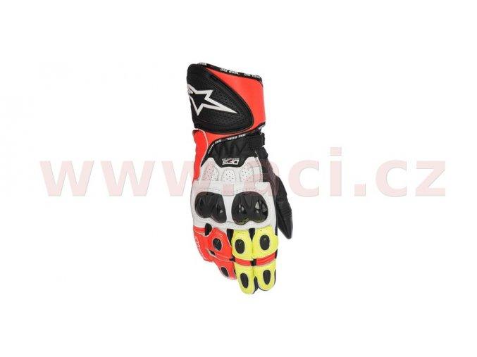 rukavice GP PLUS R, ALPINESTARS - Itálie (červené fluo/bílé/černé/žluté fluo)