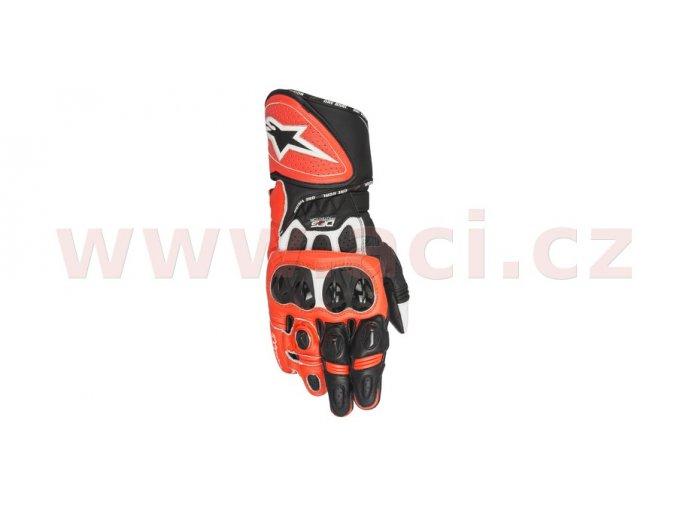 rukavice GP PLUS R, ALPINESTARS - Itálie (červené fluo/bílé/černé)