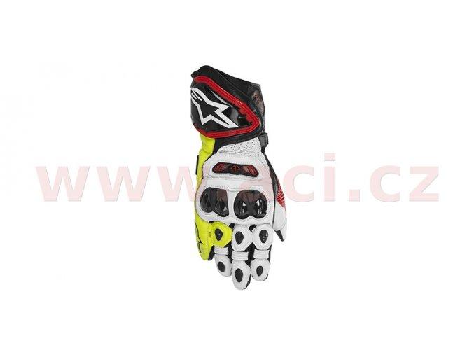 rukavice GP TECH, ALPINESTARS - Itálie (černé/červené/bílé/žluté fluo)