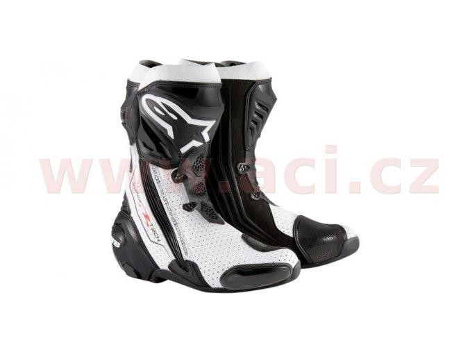 boty Supertech R, ALPINESTARS - Itálie (černé/bílé, perforovaná kůže)