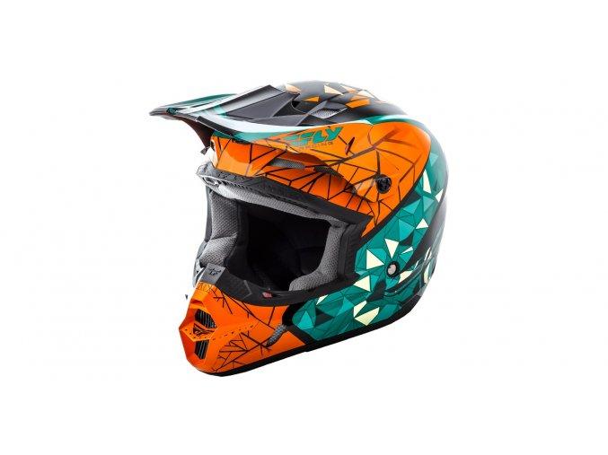 přilba Kinetic CRUX, FLY RACING - USA (oranžová/tyrkysová/černá)