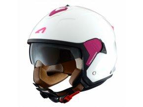 Moto přilba ASTONE MINIJET S TROOPER bílo/růžová L