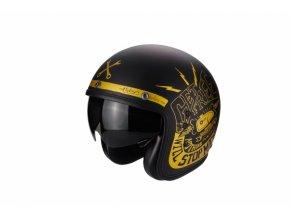 Moto přilba SCORPION BELFAST FENDER černo/zlatá matná