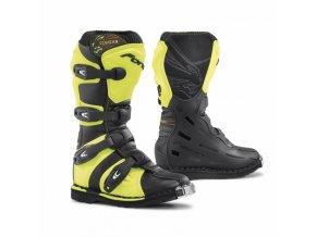 Dětské moto boty FORMA COUGAR černé/žluté fluo