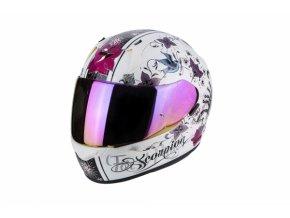 Moto přilba SCORPION EXO-390 CHICA perleťově bílo/růžová