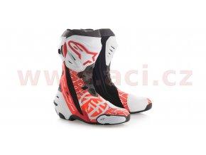 boty Supertech R Samurai replika Dani Pedrosa, ALPINESTARS - Itálie (bílé/červené fluo/šedé/černé, perforovaná kůže)