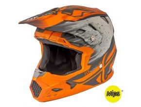 přilba TOXIN RESIN - MIPS, FLY RACING - USA, dětská (mat. oranžová/khaki)