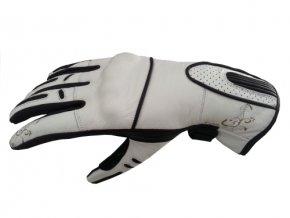 Dámské kožené moto rukavice Spark Nella, bílé