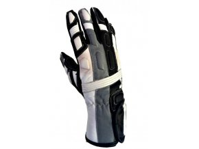 Kožené moto rukavice Spark Tampa stříbrné