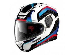 Moto helma Nolan N87 Arkad N-Com Metal White 40