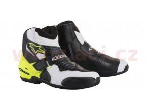 boty SMX-1 R, ALPINESTARS (černé/bílé/žluté fluo/grafika)