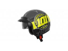 přilba Oxygen 101 Riders, CASSIDA - ČR (žlutá fluo/černá/stříbrná metalická)